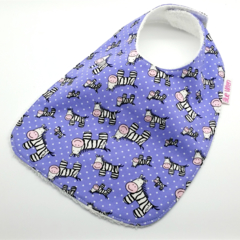 Baby Bib Zebras on Cotton Fabric, Bamboo Toweling, Snap Fastened.