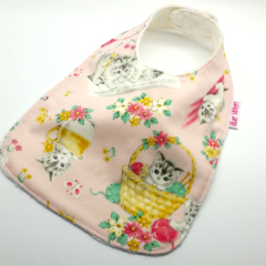 Baby/Infant Dribble Bib, Kittens Cotton Fabric, Bamboo Toweling, Snap Fastened.