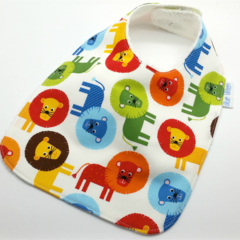 Baby/Infant Dribble Bib Lions on Cotton Fabric, Bamboo Toweling, Snap Fastened.
