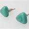 Teal Triangle Glass Earrings