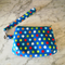 Small Wristlet, Clutch Purse with Removable Strap. Blue with spots and apples.