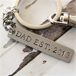 Gift for Dad - Personalised Hand Stamped Keyring - Keychain - Bag Tag