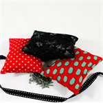 Trio of  lavender sachets in red and black.