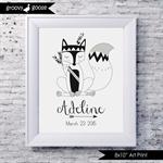 MONOCHROME TRIBAL FOX  Personalised Art Print