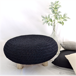 Black Driftwood Crochet Ottoman Footstool Pouffe Table Kids Home Decoration