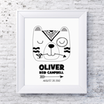 MONOCHROME TRIBAL BEAR Personalised Art Print