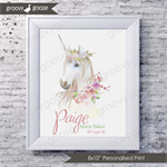 WATER COLOUR UNICORN Personalised Art Print