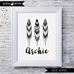 MONOCHROME FEATHER TRIO Personalised Art Print
