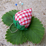 STRAWBERRY PINCUSHION PINKEEP on Adjustable Ring for your finger Great for Valen