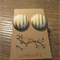 Gold & white stripped fabric earrings
