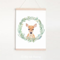 Fawn in wreath - Children's art. Watercolor baby deer. A4 Print
