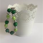 Beaded Green and silver bracelet.