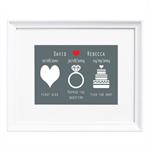 Kissed, Engaged, Married Personalised Print