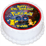 Pokemon Go Personalised Round Edible Icing Cake Topper - PRE-CUT