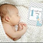 BABY MILESTONE CARDS Chevron Giraffe Blue