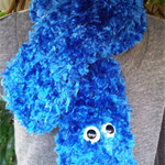 "Blue or red Monster scarf, inspired by ""Elmo"" and ""Cookie"""