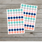 120 polka dot stickers / Navy, Mint, Grey and Blush dots