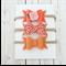 'MOLLY' Bow Set - Tilda Fabric - Orange - Floral - Pink - Felt Bow
