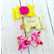 Pink Floral Clip Trio - Gold Glitter - Yellow - Felt Bow - Baby/Girls Accessory