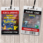 Pokemon Go Personalised VIP Lanyard Birthday Invitations x 10