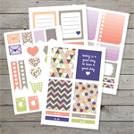 Printable Set of Planner Stickers / Purple Geometric