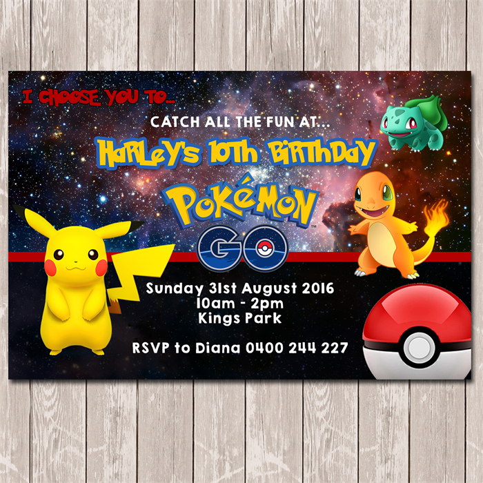 Pokemon Go Personalised Birthday Invitation - YOU PRINT | Deezee ...