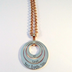 Personalised Hand Stamped Gold Triple Family Pendant