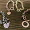 Stainless Rolo Toggle Bracelet Hand Stamped Colour Silver Gold or Rose & Charm