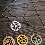 Stainless Steel Personalised Hand Stamped Tree of Life Necklace. Choose Colour
