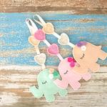 Elephant with crochet hearts, wall art, hanging, assorted, girl or boy gift