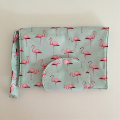 Pink Flamingo in Mint Nappy Wallet. Fits all wipes