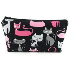Cats on Black Cosmetic Bag, Zip Pouch, Makeup Bag, Travel Bag