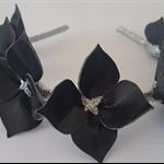 BLACK &SILVER Leather Crown ,Flower Headpiece, Wedding Fascinator