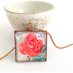 Rose Necklace, vintage postage stamp, romantic rose