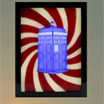 3D Dr Who Tardis in space time warp led light box wax painting