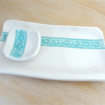 Ceramic serving platter. Cheese board. Porcelain serving dish with turquoise.