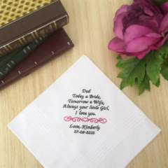 Wedding Handkerchief , Father of the Bride Hanky, Personalised Wedding Gift