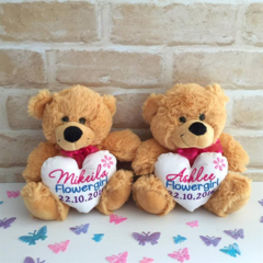 Flower Girl Gift; Flower Girl; personalised Teddy;