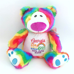 Personalised Teddy; Rainbow Bear; Baby Gift ; Personalised Baby;Embroidered Bear