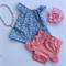 Pretty blue floral pleatie flutter swing top. baby, girl, toddler