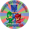 Edible PJ Masks Cake Topper - wafer paper - 19cm round - PERSONALIZED