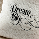 Cushion Cover,  Golden Fabric, with Embroidered Words - Dream Big.