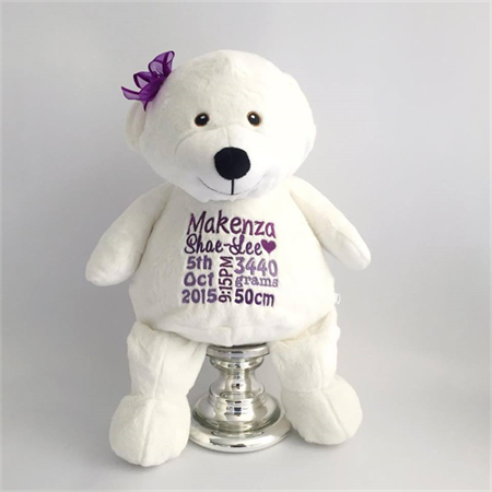 Personalised Teddy; Baby announcement; Baby Gift; Personalised baby teddy bear