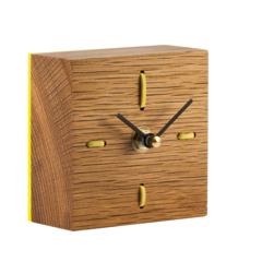 Desk Clock - The Block in American Oak wood with yellow accents