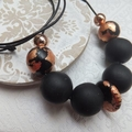 Black Polymer Clay, Copper and Rose Gold Necklace