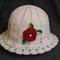 Hat for little lady, Summer Crochet Girl Hat, Red Rose, Light Pink Hat