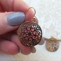 Rose Gold Lasercut Filigree 20mm Pendants hung from Rose Gold Earrings