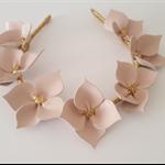 Dusk Pink & Gold Leather Crown,Fascinator