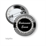 Black stripe  personalised hens party badges - pack of 10