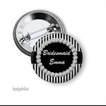 Black stripe  personalised hens party badges - pack of 10